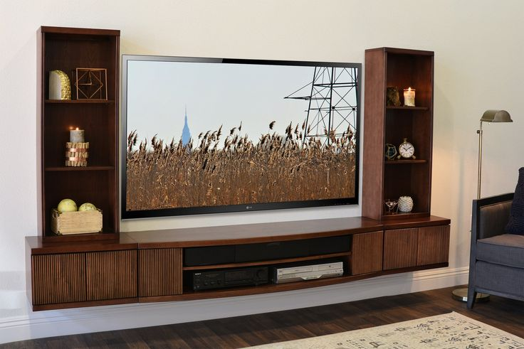 Floating TV Stand Wall Mount Entertainment Center - Curve 5 Piece - Mo - Woodwaves