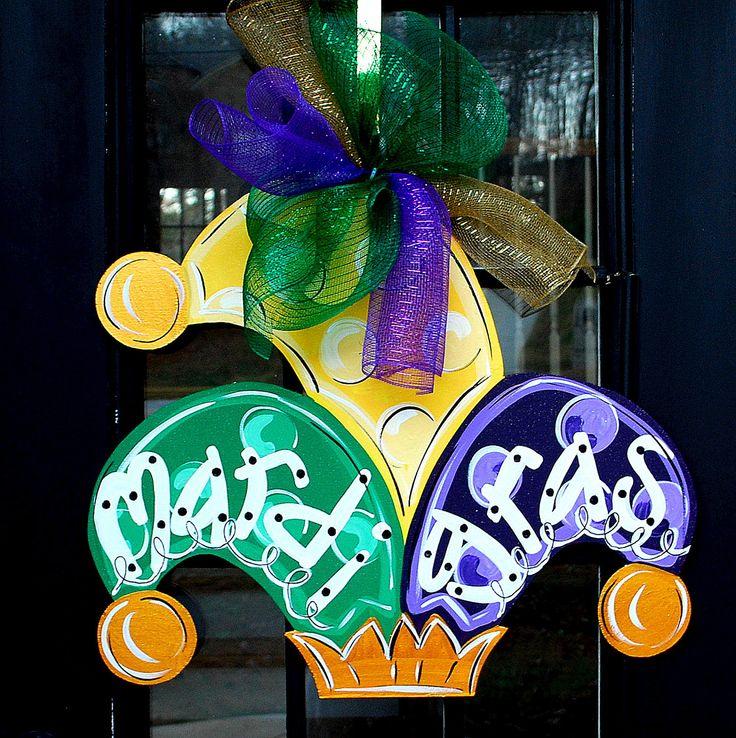 Mardi Gras Door Hanger by LooLeighsCharm on Etsy, $45.00