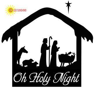 christmas manger scene with animals HOLY NIGHT
