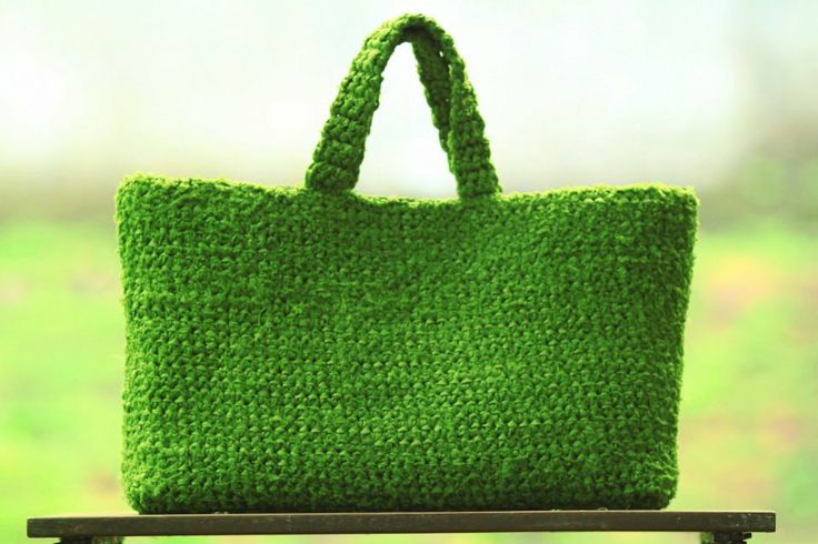 green satin fabric tote bag #Crochet #Green #CrochetBag #CrochetSatinFabric #Bag…