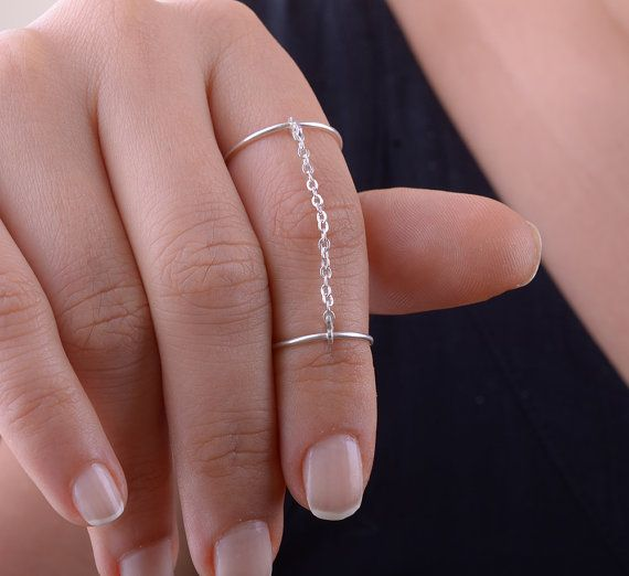 Knuckle Ring, Double Statement Ring, Stacking Rings, Connecting Chain Ring, Gold Silver Ring Gift
