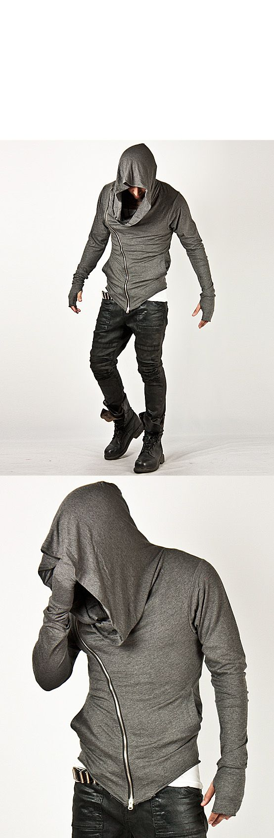 Cant get better than this! Unbeatable Arm Warmer Diagonal Zip Up Hoodie Charcoal - Jackets | RebelsMarket