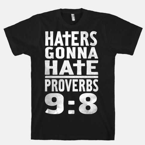 "Haters Gonna Hate, Proverbs 9:8  ""Don't correct jealous, cynical people, they will hate you anyway"""