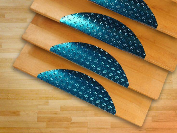 Wood Stairs (w/ Blue Aluminium Stair Tread Covers)