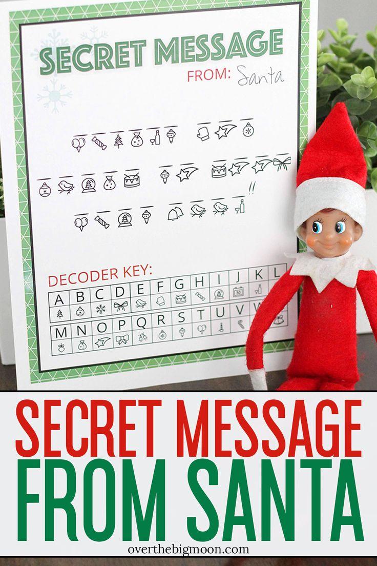 Secret Message From Santa Printable Elf On The Shelf