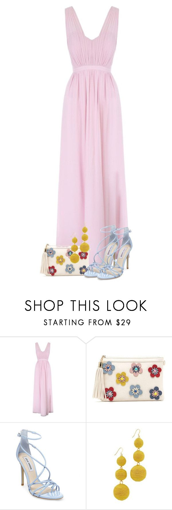 """""""Pink Pastel Maxi Dress"""" by majezy ❤ liked on Polyvore featuring Jane Norman, Steve Madden and Kenneth Jay Lane"""