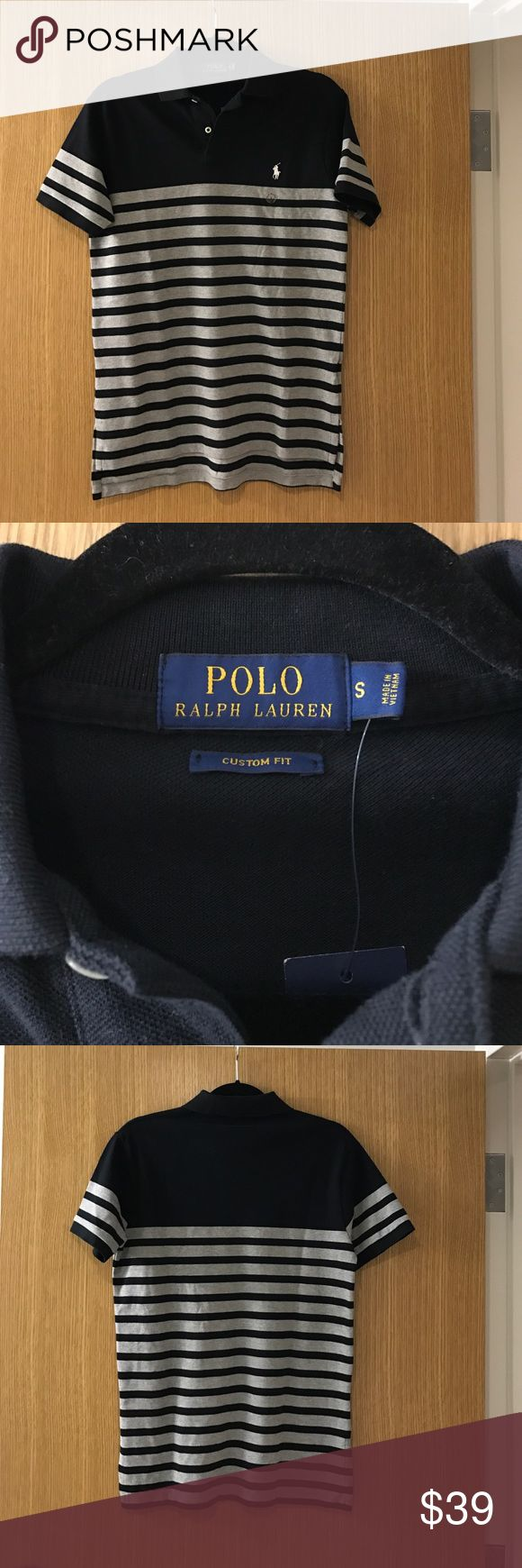 Men's Polo Ralph Lauren Polo Men's black and grey striped Polo Ralph Lauren polo. Size S. Never worn! Tags attached. Polo by Ralph Lauren Shirts Polos
