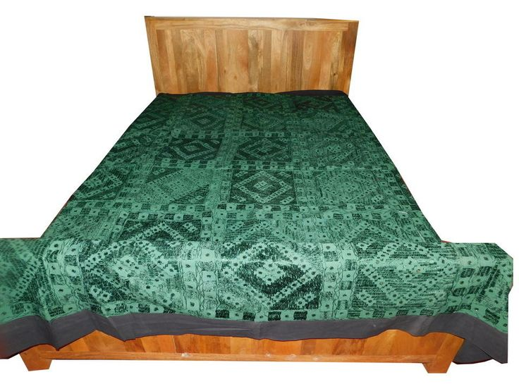 VINTAGE KANTHA BEDSPREAD TAPESTRY INDIAN HANDMADE BED SHEET WITH MIRROR WORK SF8 #Vintage