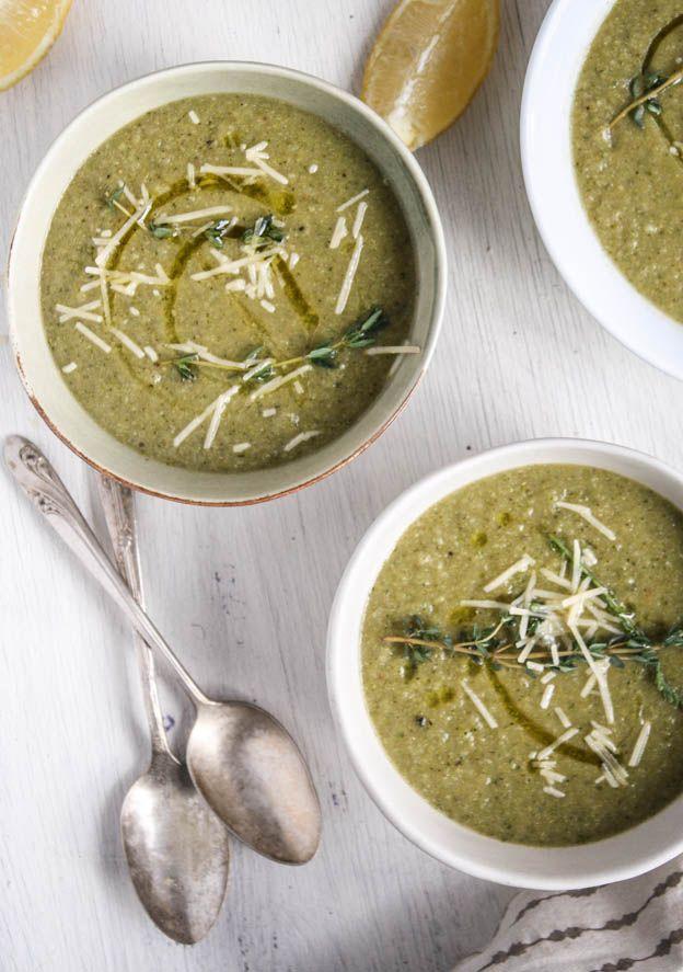 Broccoli & Potato Leek Soup with Lemon & Thyme, Serves 4 Yum!