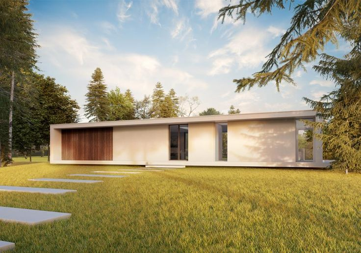 Modern white house in the Surrey country side. The home manages the terrain by