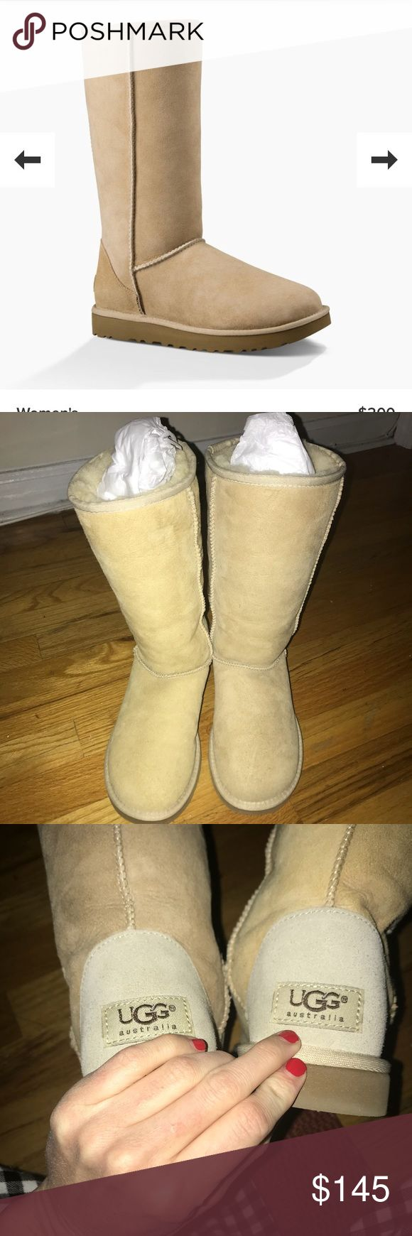Brand new, Tall, UGG Boots Brand new! Never worn! My boyfriend bought me these boots and they don't fit me. They are a size 5, but will fit a size 6 or 5.5 or 5. Very versatile. He bought them at the UGG store in Manhattan for 200 dollars. I️ have never worn these boots they are brand new. UGG Shoes