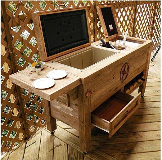 Amazon.com : Outdoor Patio Cooler Bar - Wooden Rustic Kitchen Furniture - Grilling Prep Station on Roller Wheels - Wine Storage, Beer Bottle Opener, Towel Rack, Cutting Board Accessories - Handmade Eclectic Decor : Patio, Lawn & Garden