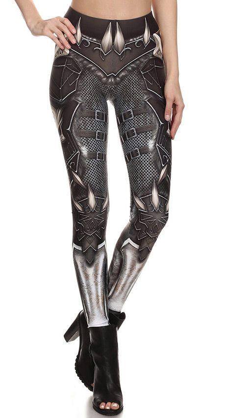 Leggings armure cotte de maille avec crânes et sangles imprimés, viking guerrier geek