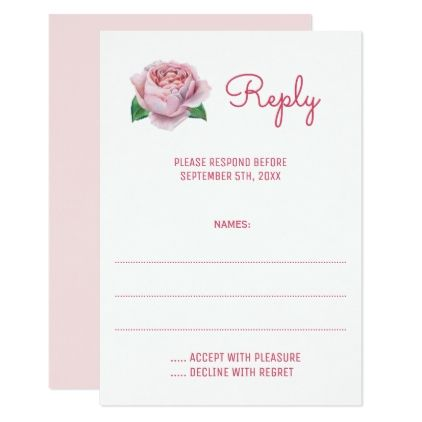 Pink Roses Watercolor Wedding Reply Cards - diy cyo customize create your own personalize