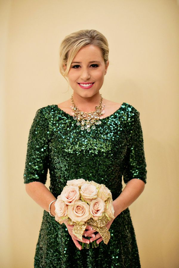 Bridesmaids' dress via French Connection - Emerald and Champagne Wedding Ideas by Sugar Branch Events and CHARD - via ruffled