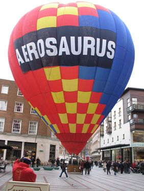 Aerosaurus Balloons set up a hot air balloon in Princesshay Shopping Center, Exeter