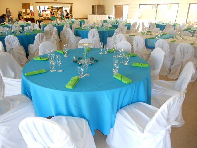 Turquoise, Kelly Green and White Wedding