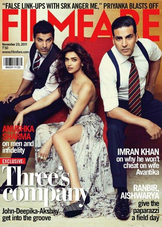 Desi Boyz AKSHAY KUMAR & JOHN ABRAHAM Flank DEEPIKA PADUKONE On The Filmfare Cover Even As CHITRANGADA SINGH Goes Missing!!""