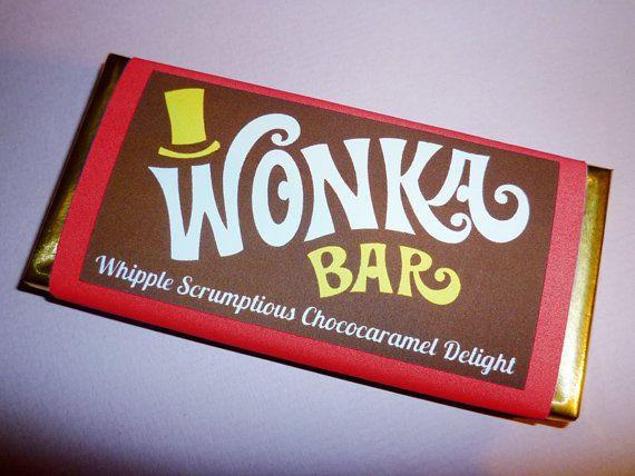 Wonka Bar labels Wonka Bar candy bar label Willy Wonka birthday party Charlie…