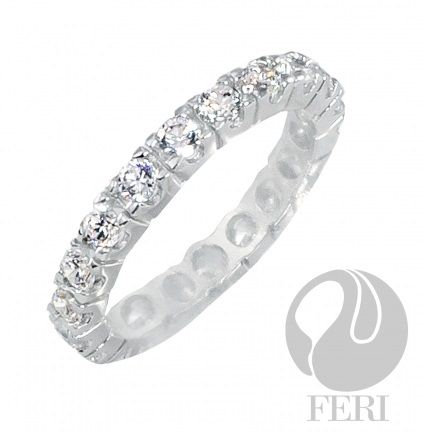 "- Exclusive FERI 950 Siledium silver - Exclusive dual natural rhodium and palladium plating - Set with exclusive FERI Swan cut lab stones - Colour: white - Dimensions: 4mm width (0.2"") Invest with confidence in FERI Designer Lines."