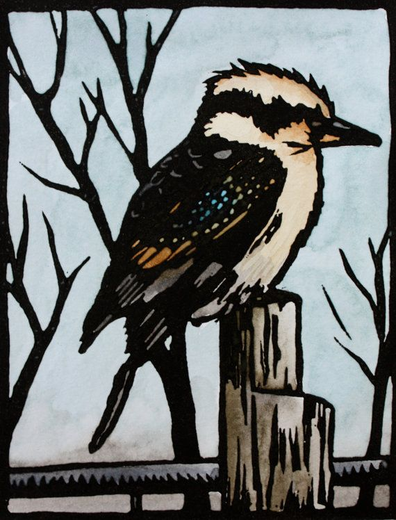 Kookaburra Lincocut Print - Hand Coloured - Grey, Black, Brown, Teal