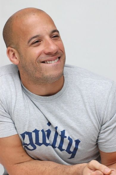 Vin Diesel --- I'm repinning this because he's wearing a t-shirt that says guilty while it looks like he's trying not to fart.... attractive man, funny picture.
