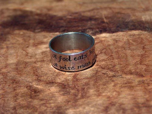 """""""Irish wit ring  """"A fool eats his last potato. A wise man plants it.""""  Symbol of patience and overcoming fears"""