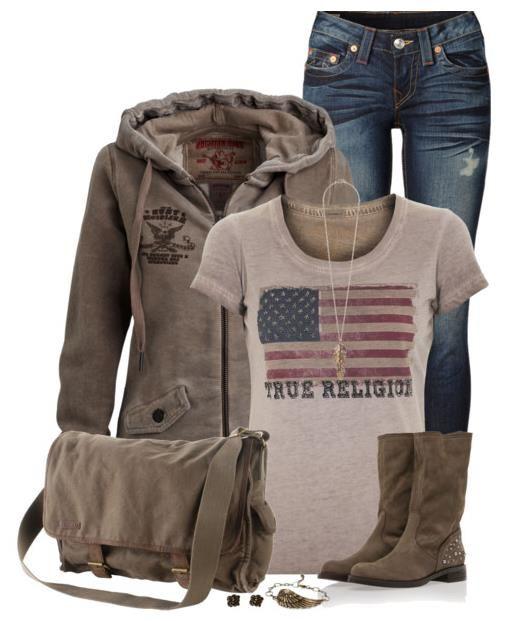 Lässig School Herbst Outfit Mit TRUE RELIGION American Flag Fossil Braun Verziert T shirt