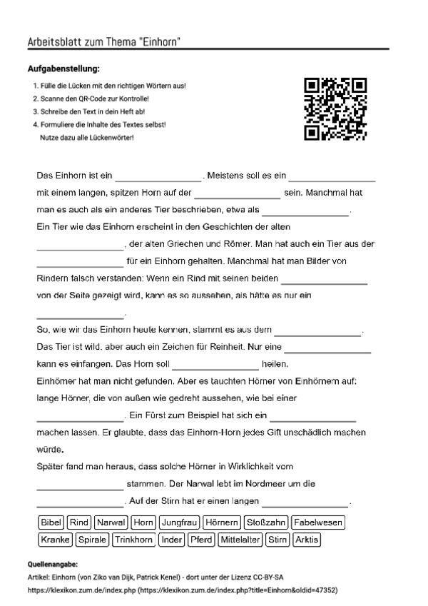 arbeitsblatt mit l ckentext zum thema einhorn unterricht schule arbeitsbl tter deutsche. Black Bedroom Furniture Sets. Home Design Ideas