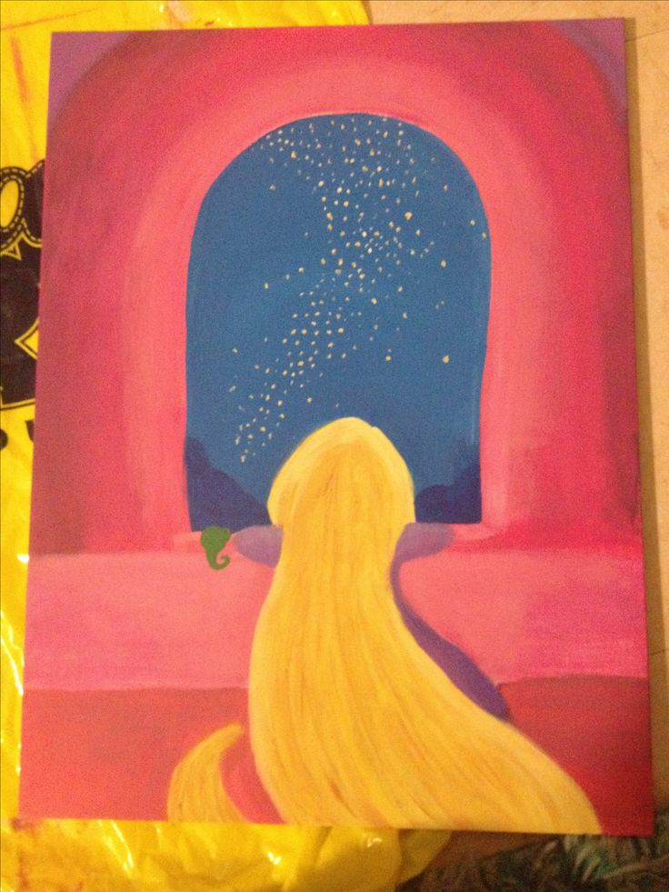 By Mariah Harper Tangled DIY disney canvas Painting Rapunzel Pascal Disney May be Purchased at my etsy shop