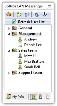 Softros LAN Messenger Screen Shot. Intranet software for LAN messaging, file transfers and chat.