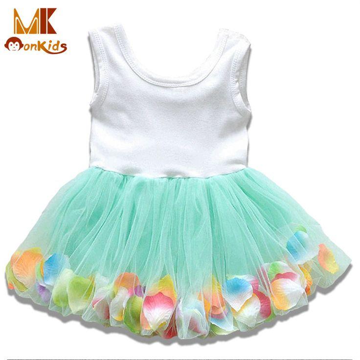 Monkids 2017 Summer Kids Baby Girls Clothing Dresses Beautiful Flower Dress Sleeveless Tutu Princess Dress Baby Girl Dress D848q