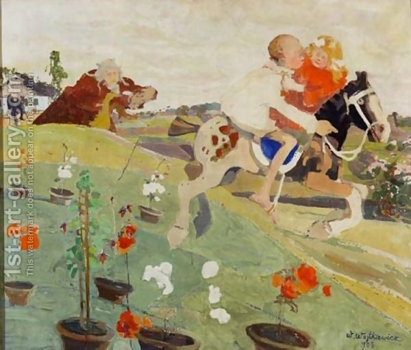 "Witold Wojtkiewicz, ""Escape (Abduction of a Princess), from the cycle From the Childish Poses"" , tempera on canvas, 1908, 76,5x91 cm, National Museum, Warsaw"