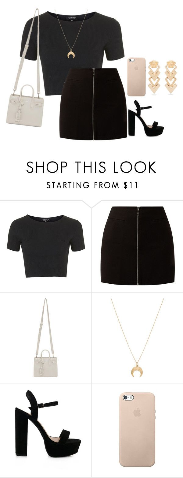 """Untitled #940"" by petitaprenent ❤ liked on Polyvore featuring Topshop, Yves Saint Laurent, Chloé and Versace"