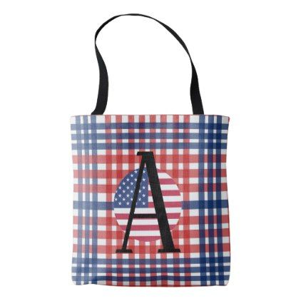 American Flag Letter A - Add ANY Initial Monogram Tote Bag - veterans day us patriot holiday usa vets