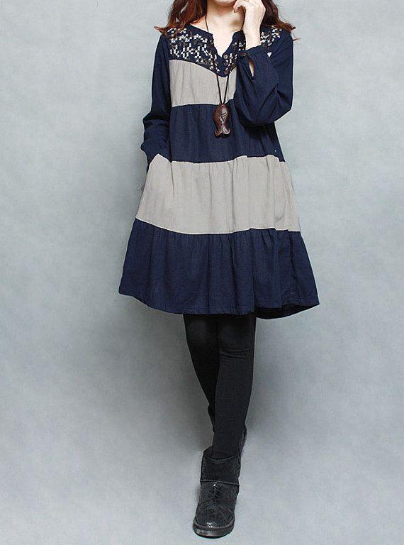 Women plus size dress Spring blue linen dress/ Brown by MaLieb, $80.00