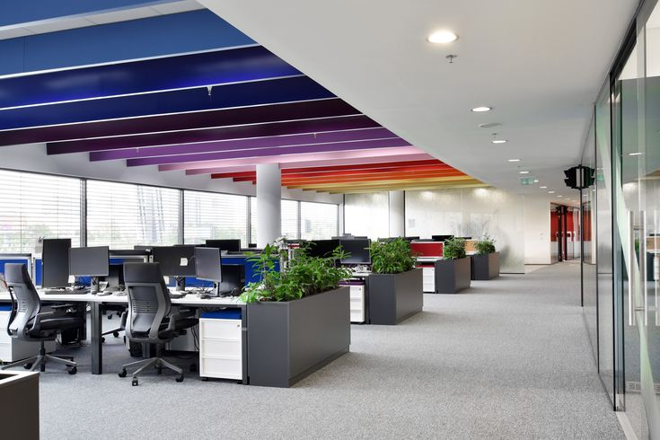 Techona office   monom - interior of the open space with rainbow ceiling design