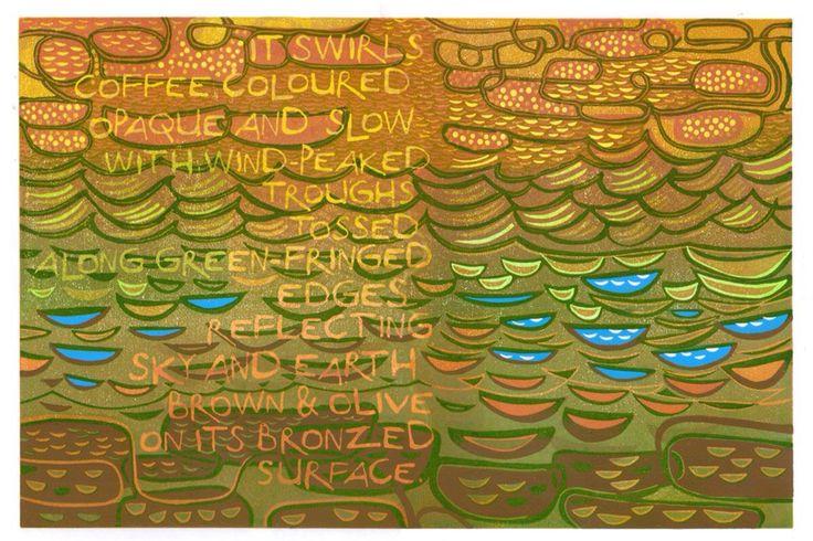 """Poem"" reduction linocut. © Eric Gaskell 2016"