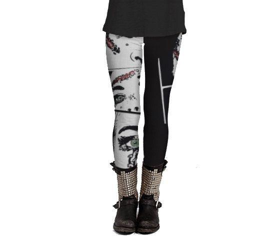 broken doll horror leggings for women, black and white leggings, designer leggings, handmade leggings, macabre, punk style by Felicianation