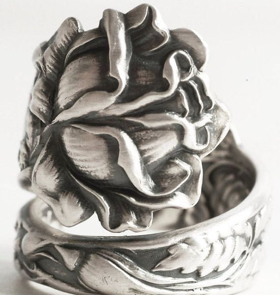 Silver Rose Ring Spoon Ring Sterling Silver Rose by Spoonier