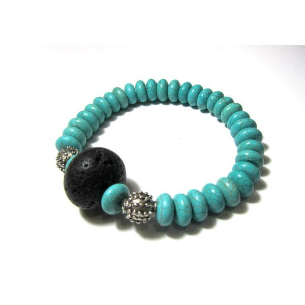 Turquoise Bracelet Santorini Volcanic Lava Rock Magnesite Natural Eco Friendly Organic Greek Jewelry Gift For Her (€15) found on Polyvore featuring turquoise bracelet santorini volcanic lava rock magnesite