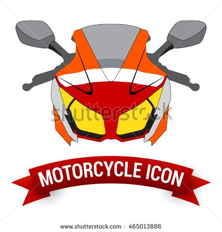 Front View Motor Bike Icon. Motorcycle Badges. Vector Design