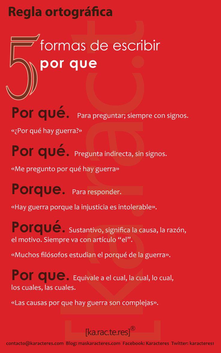 """5 Ways to write """"por que"""" reglaortografica-porque.jpg (1001×1599)"""