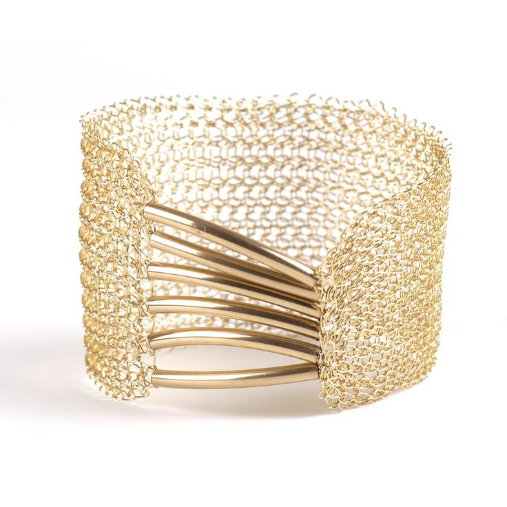 A Symmetric Gold Cuff Bracelet, Gold Mesh Bracelet