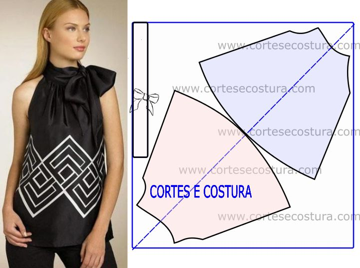 Esta blusa fácil de cortar e fazer foi pedido expresso de uma seguidora da página. O plano de corte ajuda a confeccionar este modelo. MOLDE DE BLUSA FÁCIL