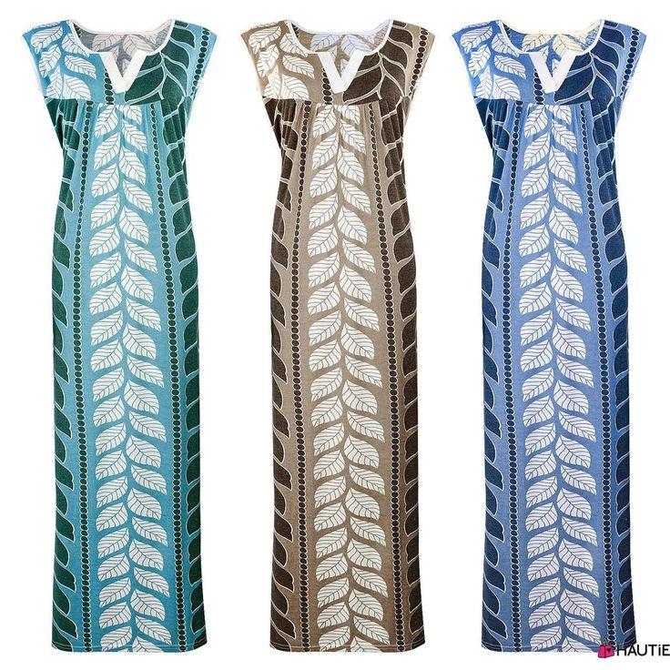 Ladies Floral Leaf Print Sleeveless Nightdress Nighty, Soft Cotton Nightwear, Si