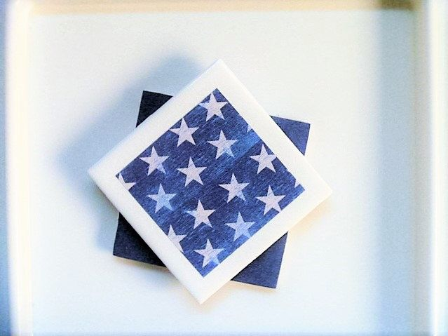 Patriotic Decor, Veteran Gift, Rustic American, Star Party, Denim Decor, Set of 2 Coasters (4 and more available) by KefiInspirations on Etsy