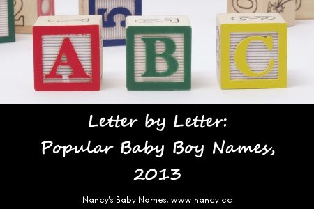 "Popular Baby Boy Names, Letter by Letter, for 2013. ""The two new #1 names that emerged in 2013 were Hunter, which replaced Henry, and Thomas, which replaced Tyler."" #babynames"