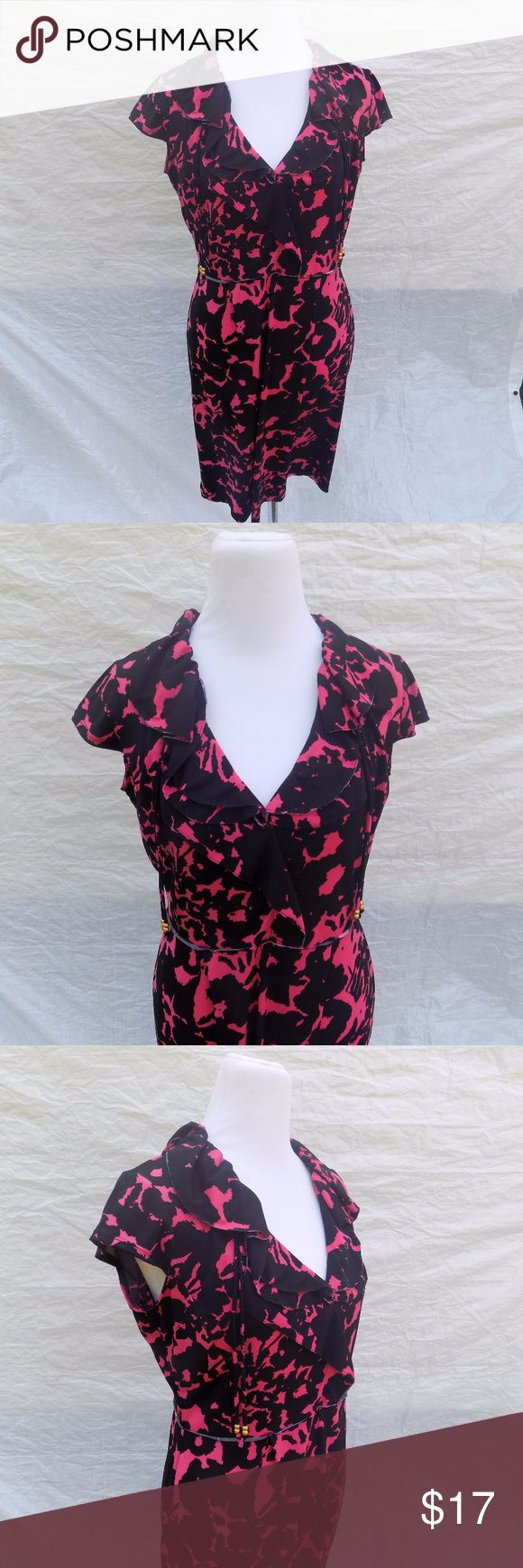 Julian Taylor 12 Dress Pink Black Floral Knit Midi Brand:   Julian Taylor.  Color:   Pink and Black.  Tag Size:    Misses  12  Bust:    40 in.  Waist:     32 in.  Hips:    42 in.  Sleeve Length:  Length:  40 in.  Materials:   Polyester.  Care Instructions:  Hand Wash, Line Dry Julian Taylor Dresses Midi