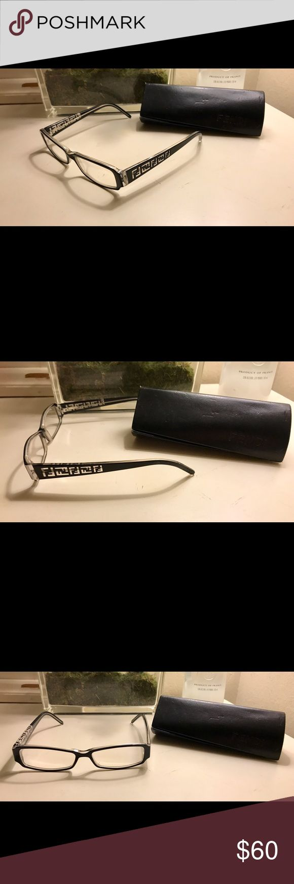 """Fendi unisex eyeglasses with case Fendi unisex model 664R frames in the color """"blackith crystals"""". Currently prescription lenses but a new prescription can be put in. The frame size is 0 x 14 x 140. Scratches shown in picture 4 on the frame part that goes over the ear. Glasses were bought for $260 and came out to $360 when the prescription was added. WILLING TO NEGOTIATE! Fendi Accessories Glasses"""